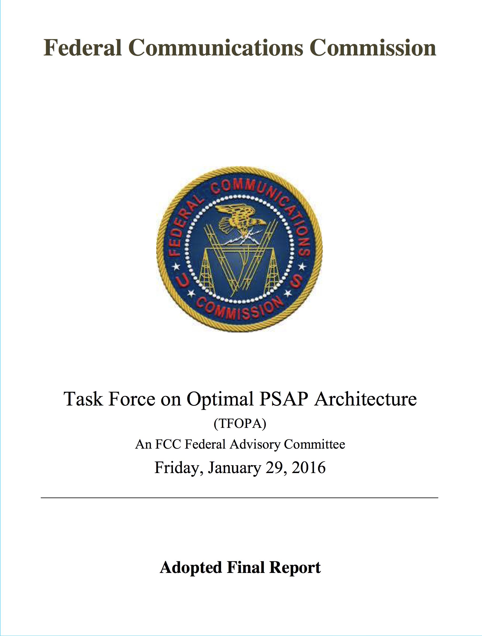 FCC: Optimal PSAP Architecture