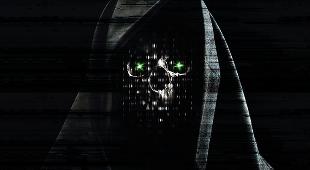 Grim reaper - hologram looking cloaked skull with green eyes.