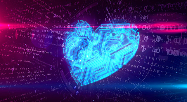 A cyber heart shape in a digital environment