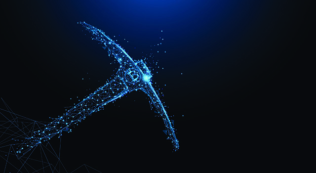 Cyber pickaxe on a dark background