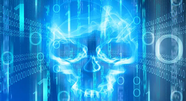 Glowing transparent skull in a cyber landscape with 0s and 1s surrounding it