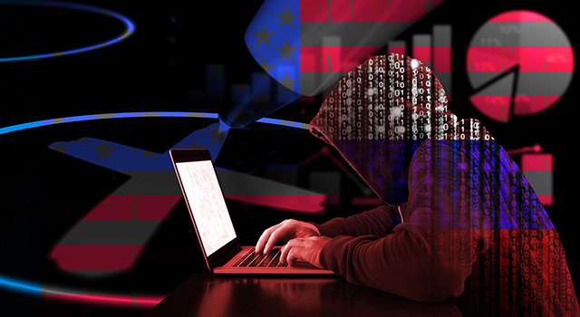 Hooded figure made out of binary code leaning over a laptop. A pie chart and other graphs surround the figure.