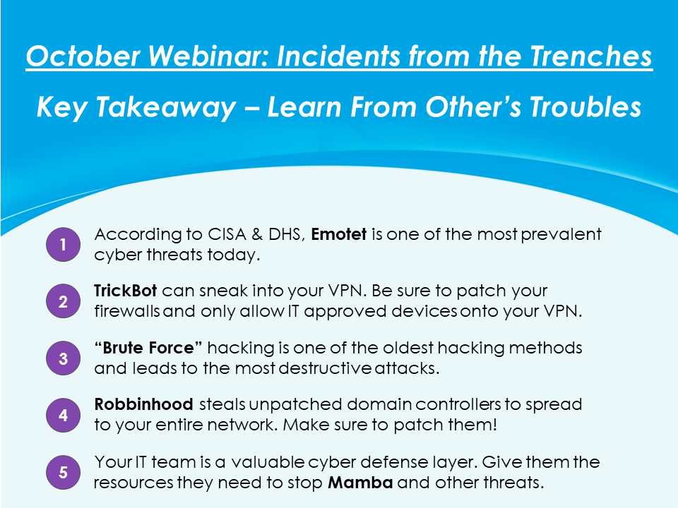 October Webinar Key Takeaways