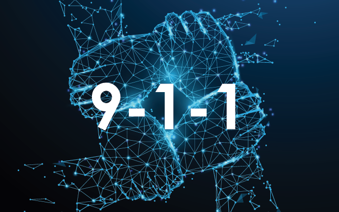 9-1-1 in the center of four cyber hands grasping each other to make a full connection.