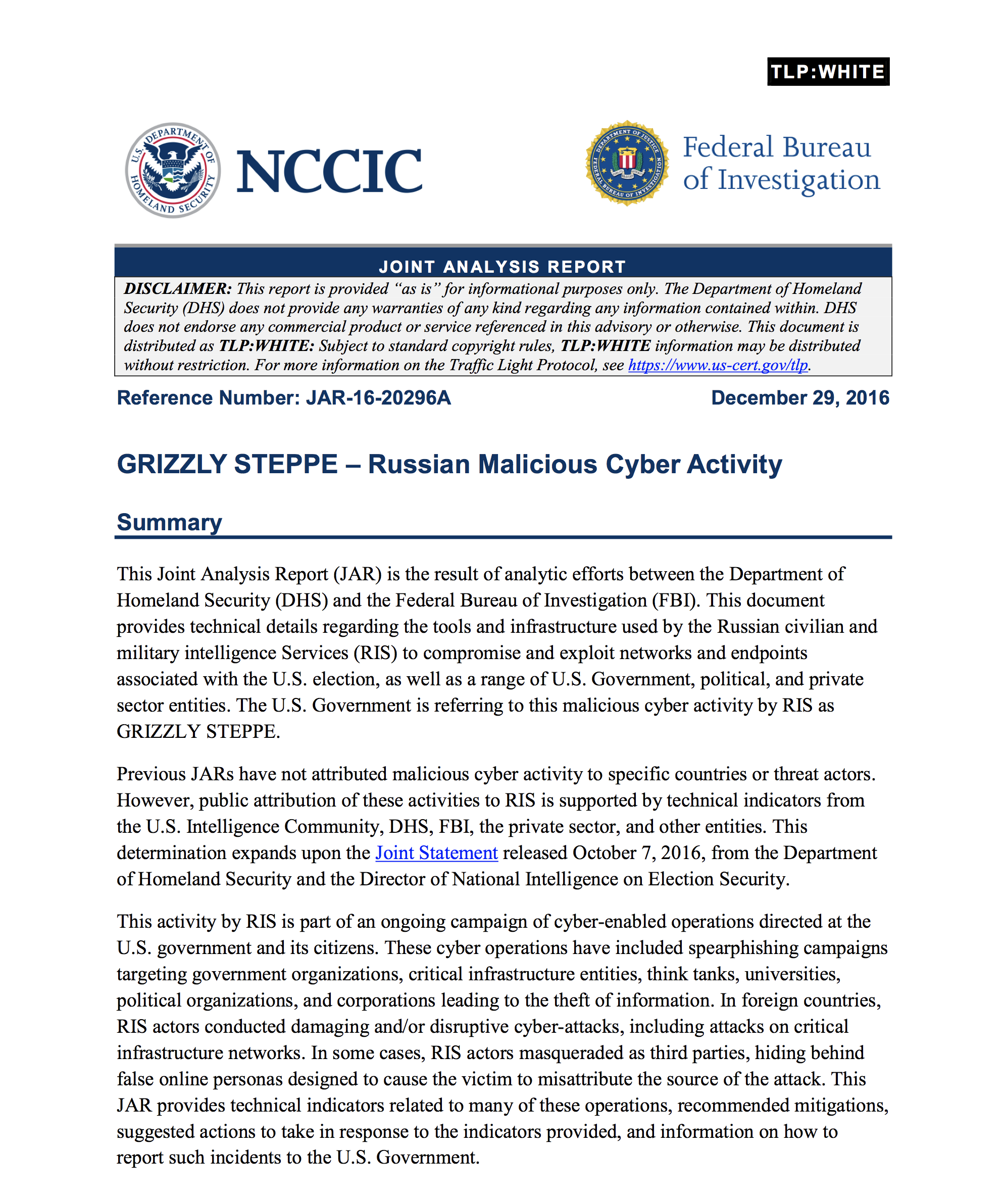NCCIC: Joint Analysis Report