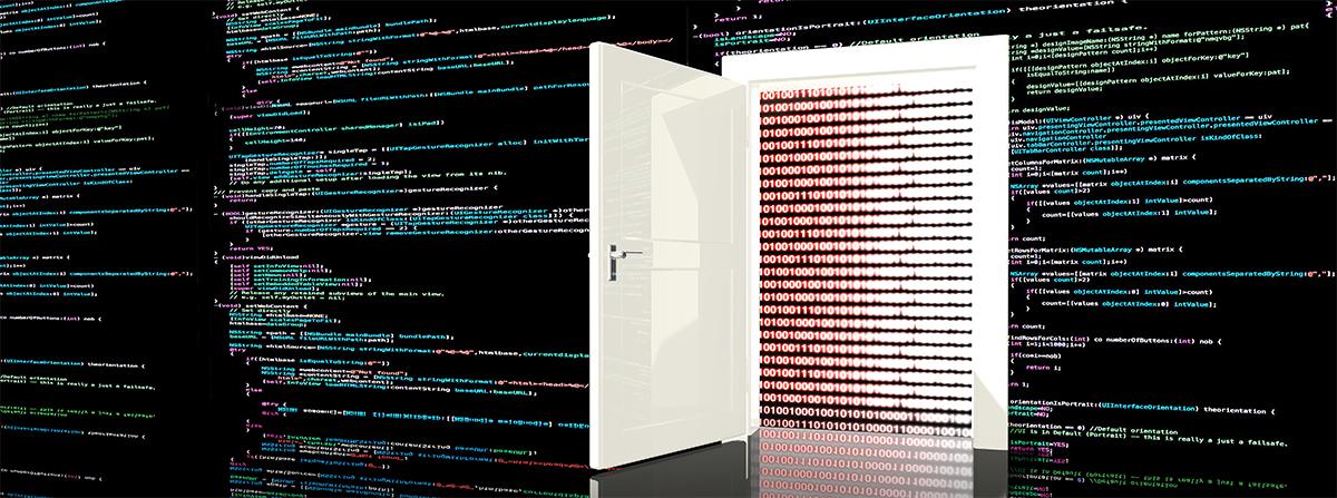 Cyber door on a screen with code.
