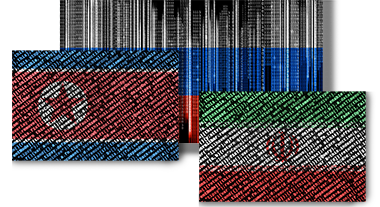 Flags made of computer code - Russia, North Korea, Iran