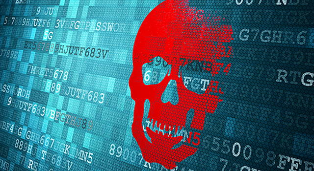Skull on a digital screen covered in computer code