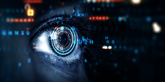 Eye in a cyber landscape looking at code