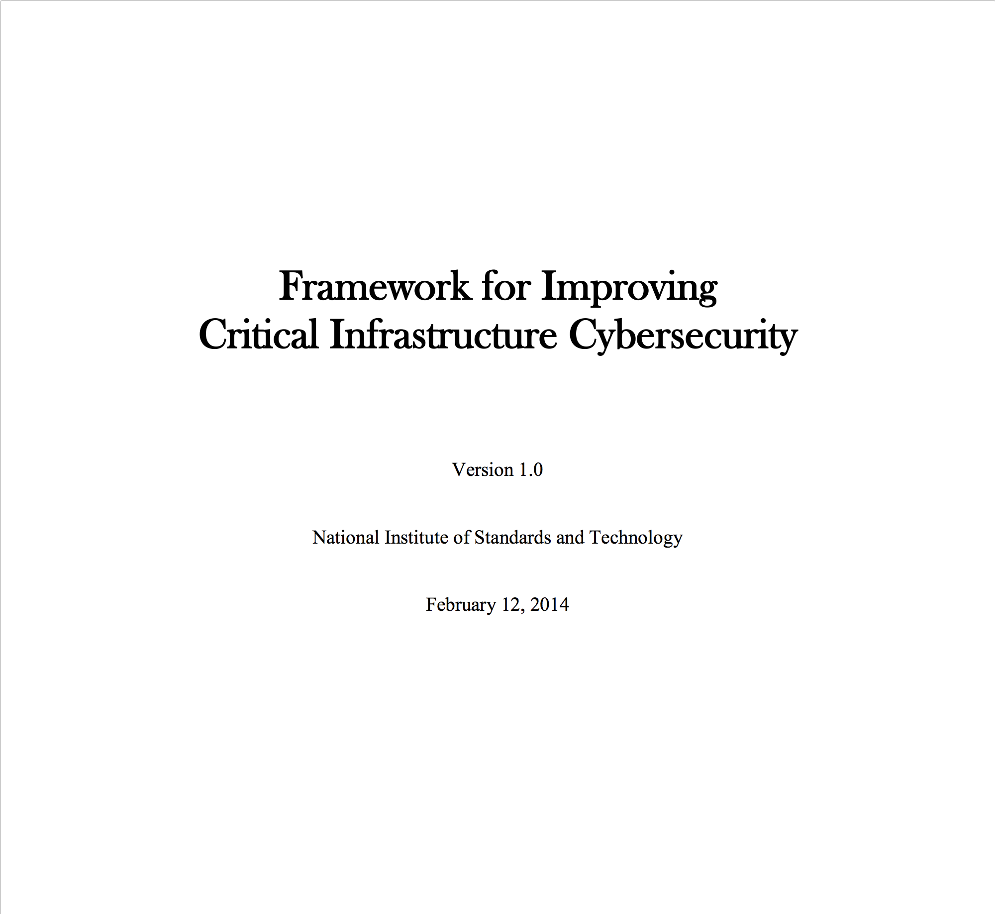 NIST: Improving Critical Infrastructure